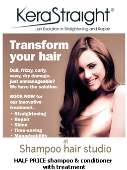 Free KeraStraight shampoo & conditioner with each treatment